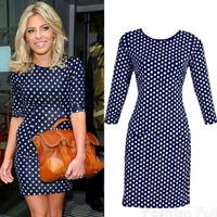 2015 New Fashion Spring/Summer/Autumn Polka Dot Bodycon Pencil Slimming Party Dress Tunic Style Mini Casual Dress