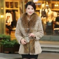 2014 winter new female rabbit fur full pelt coat medium-long plus size fashion slim style big raccoon fur collar women's jacket