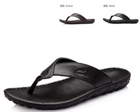 New 2014 man's pu Sandals,Leisure Soft Flip Flops,genuine leather Cowhide Massage Beach Slippers Shoes For man Size 39-44 eur
