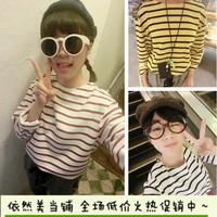 2014 new fashion women school Korean fashion color stripe long-sleeve T-shirt TEE 3 color into top
