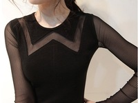 2014 Lady autumn o-neck long-sleeve women's slim Patchwork gauze lace knitted basic one-piece dress S-2XL B0541