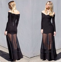 2014 New Arrival women Long Sleeve Sexy Off the Shoulder Maix Party Dress Free Shipping #D052