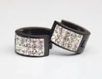 24pairs/lots Balck  Fashion Punk Stainless Steel Crystal Earrings Hoop JYER-00910
