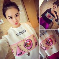 2014 women Autumn new Korean wild sweet mouth sexy strapless sleeve T-shirt shirt female tide top