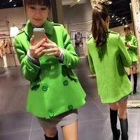 2014 New Fashion Korean New Slim Winter Coat Solid Mid-Long Double Breasted Woolen Cloth Coats Cloak WA-0000