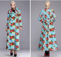 2014 New design women's autumn long coat double-breasted trench slim turn-down collar plus size outwear overcoat M-XXXL