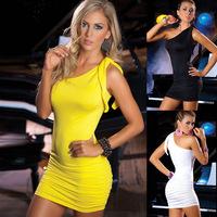 Nightclub ladies' one shoulder dress clubwear dress sexy halter tight costume party dresses women female  RS-186