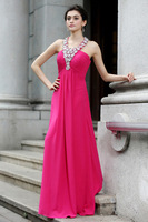 Newest Update Recommend A-line V neck Chiffon Beading Sleeveless Floor Length Fashion Custom made Women Evening Dress LR0054420