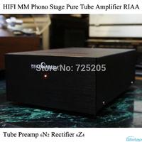 HIFI MM Phono Stage Tube Amplifier Stereo Audio Pure Tube Preamp 6N2 Rectifier 6Z4 Vinyl LP Amp RIAA Black