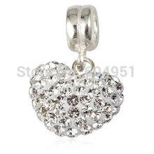 1PCS Lot 925 Sterling Silver European Dangle Austrian Crystal Heart Charm Beads fit Pandora Style Bracelets