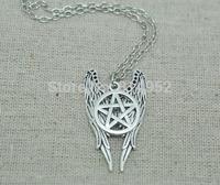 20pcs/lot silver tone Supernatural Castiel Wings Charm Necklace Pendant necklace