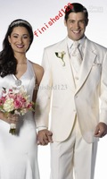 2015 Custom Made Popular style ivory 2 buttons Groom Tuxedos Wedding Men's Suits (jacket+pants+waistcoat+tie) DH:214
