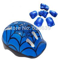 Free shipping Wrist Knee Elbow Spider Man Pad set  WITH helmet Sport Helmet Protector set for kid Knee Elbow & hand
