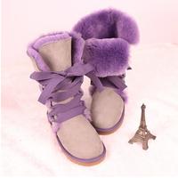 women's Winter fashion genuine leather high snow boots flat heel 2014 women shoes female lacing shoe