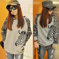 Spring and Autumn New Korean Women Zebra Striped long-sleeved Loose Sweater Women Hoodies casual sweatshirt women hoody