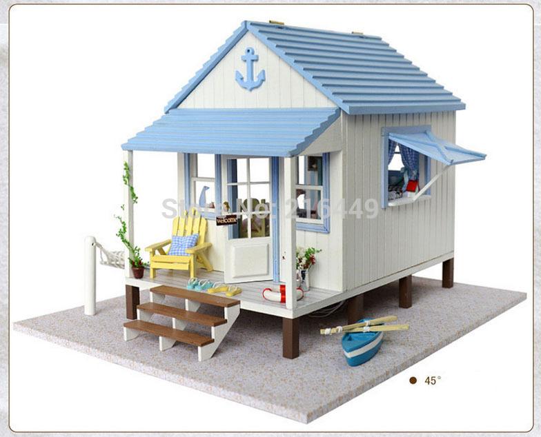 Free Shipping DIY Doll House Miniature coast of happiness Manual wood assembled large villa model Birthday gift Dollhouse Toy(China (Mainland))