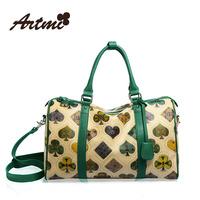 For ar tmi2014 spring poker print women's handbag vintage messenger bag travel bag