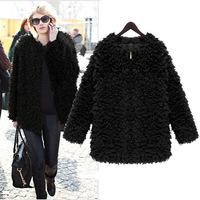 New 2014 Autumn Winter Women Plus size Fashion Khaki Black Nibbuns Fake Fur Coat O neck Zipper Long Outerwear  Casacos Femininos