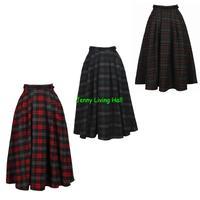 New Autumn and Winter Style 50s Vinatage Skirt Retro British Style High Waist Pleated Woolen Skirt A-Line Skirt