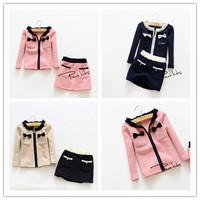 Hu sunshine wholesale New 2014  fashion Autumn girls long-sleeved cardigan bow thicker zipper jacket + skirt suit