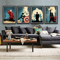 Modern Abstract Huge Canvas Art Oil Painting Hand Painted Movie Super Man quadro 4 piece Living Room Decoration Unique Gift