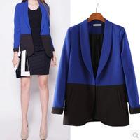 Women 2014 Hitz European style Slim Blazers Brand Contrast Colors Suits Women OL None Button Office COAT
