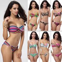 Sexy Womens Strapless Bandeau Push Up Bikini Set Padded Tops Floral Printed Swimsuit Swimwear Bathingsuit Beachwear T86 9 Colors