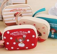 New Fashion Zipper Coin Purse Wallet Purse Cartoon Key Fabric Cotton Canvas Bag Free Shipping