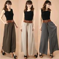 Summer trend mm women's national cotton trousers pants skirt plus size trousers pants feet pants wide-leg culottes