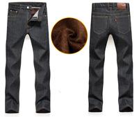 2014 Winter New men Jeans Solid Warm Thicken Pants 2 colors true jeans men Plus Size28-40