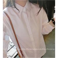 2014 Autumn all-match fashion loose casual medium-long plus size white long-sleeve women shirt Women's Clothing