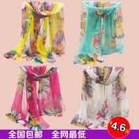 flower velvet chiffon silk scarf autumn and winter scarf long design women's beach scarf