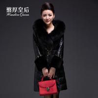 Queen 2014 sheepskin down coat medium-long women's slim genuine leather clothing