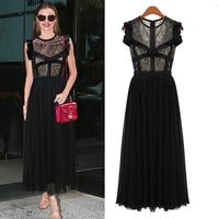 Fashion cutout 2014 lace sexy high waist slim sleeveless black evening dress one-piece dress long skirt design