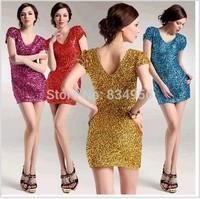 Dress NEW 2014 Fashion Sexy Women Dresses Short Sleeve V-neck Net Yarn Sequin Summer Sexy dress Party dress  Free shipping
