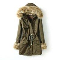 Women's  fashion casual medium-long large fur collar 100% cotton thickening wadded jacket  slim winter coat  plus  B1346