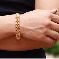 Fashion Men's Womens 18k Gold Filled Bracelet Link Chain Openable Style 11mm Width 8inch Jewelry