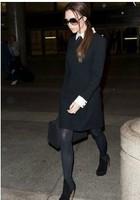 Free Shipping Women Dress 2014 Fashion Black Casual Long Sleeve Straight Party Lady Dress