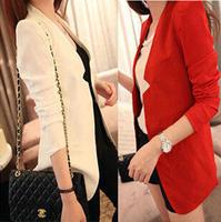 New 2014 Fashion Women Jacket  Long Sleeve Slim Long Blazer Women Spring Autumn Jacket Plus Size Suits Coat Clothing