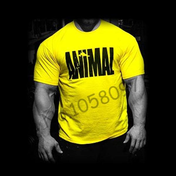 tendências em 2014 fitness algodão estampado animal camisa ginásio roupas de marca para os homens treino musculação músculo camiseta xxl grande tee(China (Mainland))