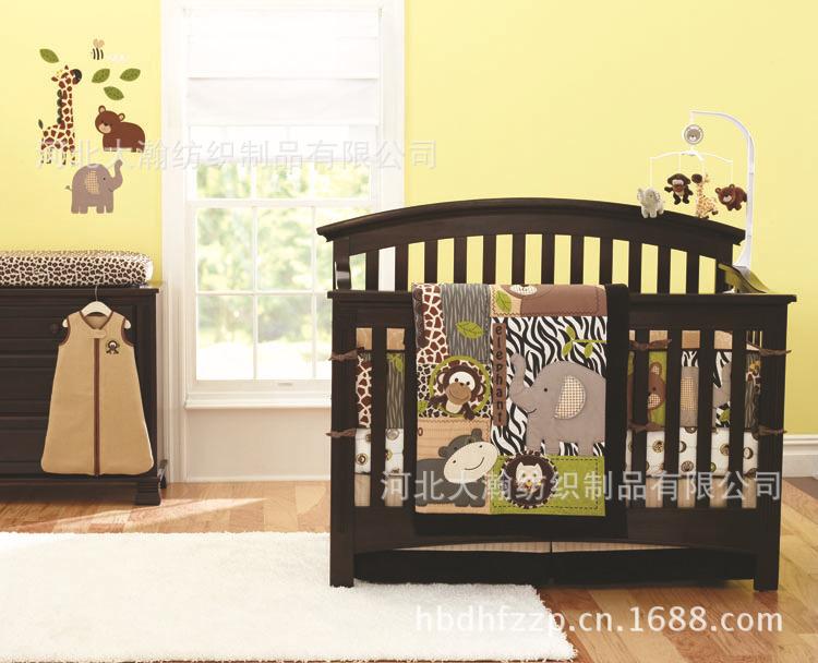 Newly Animals World Baby Bedding Set Hippo/Giraffe Pattern Crib Bedding 100%Cotton Quilt/Bed Around/Mattress Cover/Bed Skirt(China (Mainland))