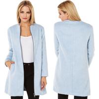 2014 Autumn Winter Women Woollen Coat Fashion Elegant Cardigans Slim Circle Pockets Zipper Long Design Wool Coat Outerwear