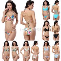 New Design Sexy Womens Floral Printed Bikini Set Halterneck Swimsuit Bandage Swimwear Bathingsuit Beachwear SML Free T152