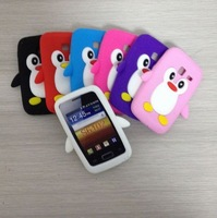 Cute penguin silicone case for Samsung Galaxy Y duos S6102