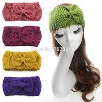 Fashion accessory wholesale 9 colors 10cm wide women knitted crochet headband lady bow knot fall winter ear warmer