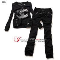 New women's fashion round neck lace hot drilling Slim leisure suit Korean version was thin wild track suit