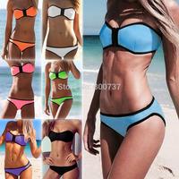 Free shipping 1 set high quality Sexy Women's Neoprene Bikini Neoprene Swimsuit Set Zipper Tops Swimwear Bathingsuit SML T160