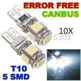 10pcs/lot Free T10 Canbus W5W 194 5050 SMD 5 LED 5smd 5led White Light Bulbs,new