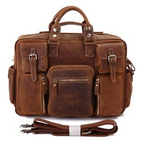 Hot Selling Rare Crazy Horse Leather Men's Briefcase Laptop Bag Travel Bag Leather # 7028B