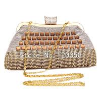 Free Shipping 2014 New Fashion Women Rhinestone Clutch Gold Chain Crystal Evening Bag Party Wedding Handbag Purse